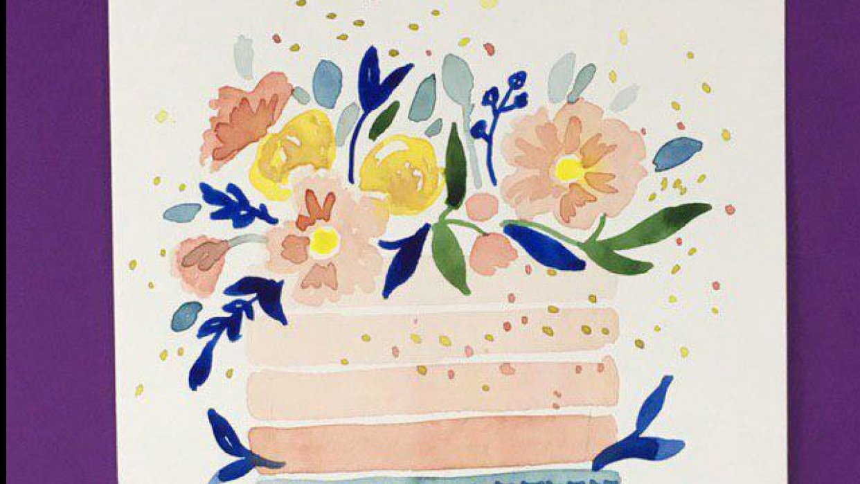 Watercolor Cakes: Create an Easy Birthday Card - student project