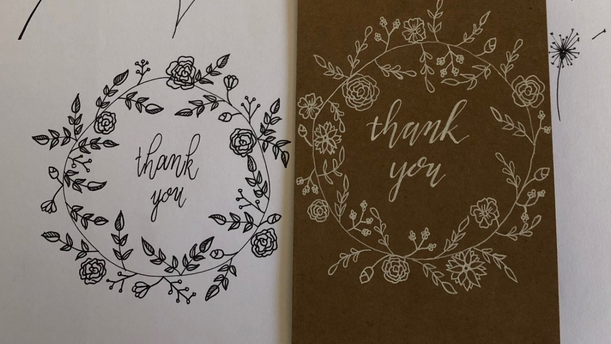 Botannical Thank You Card - student project