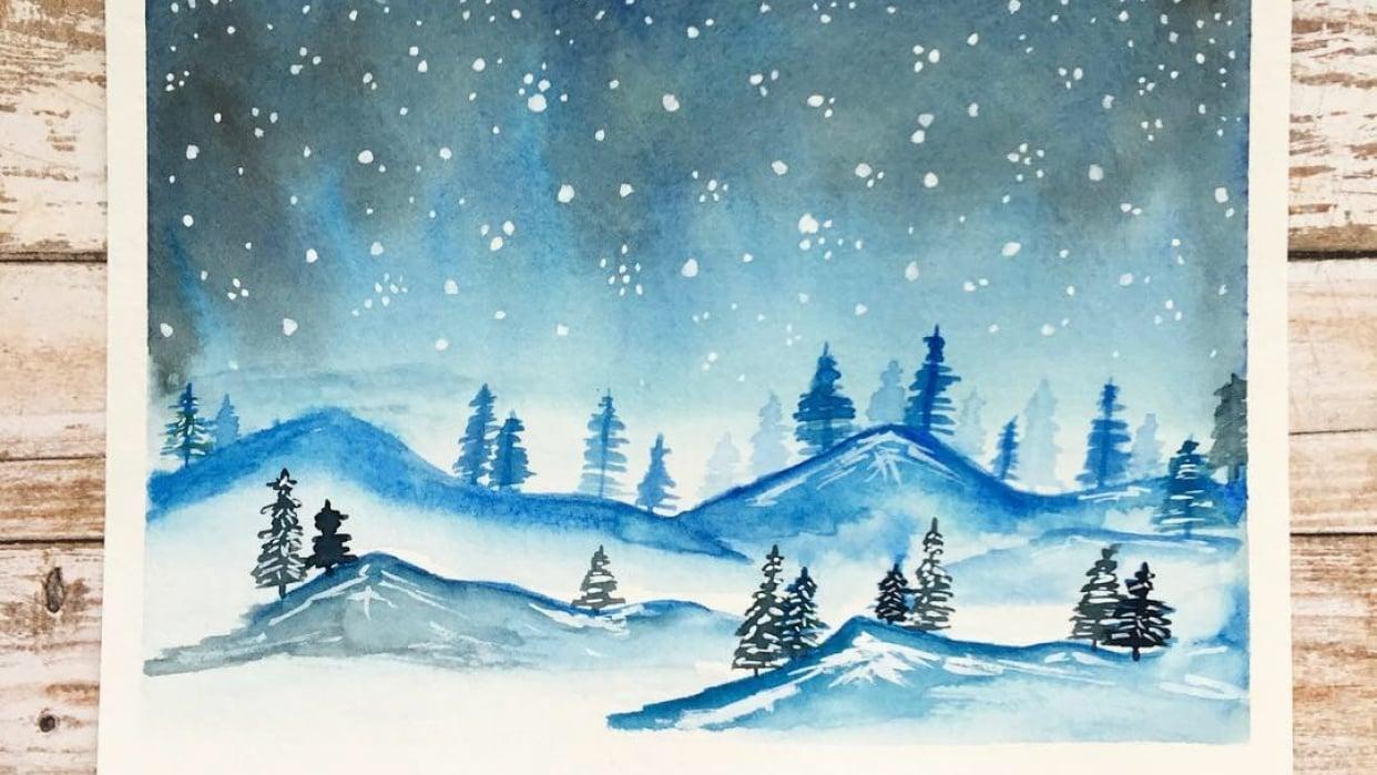"""""""Painting a Winter Landscape & Starry Night Sky"""" Class by Jana Bodin - student project"""