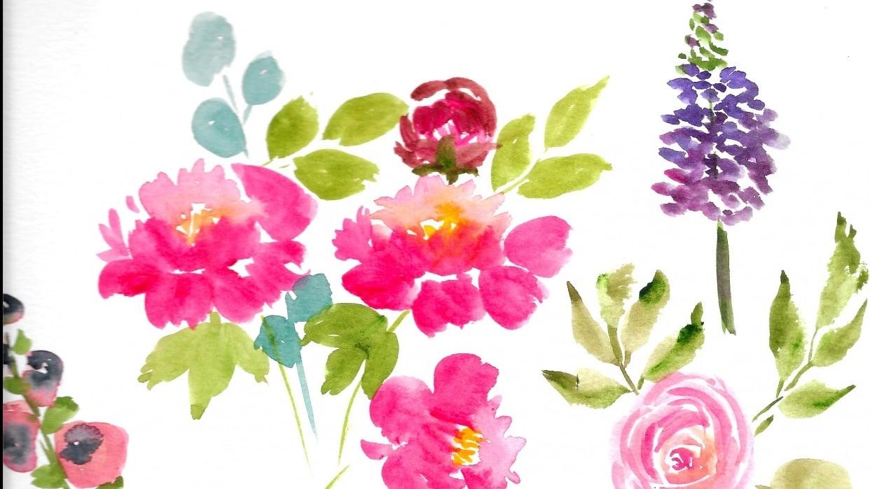 Watercolor Floral Arrangement - student project