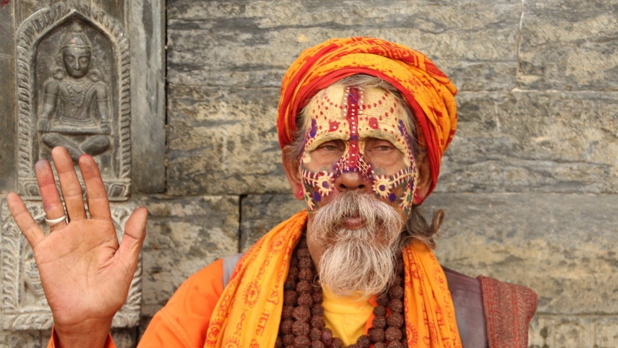 Man in Temple in Nepal - student project