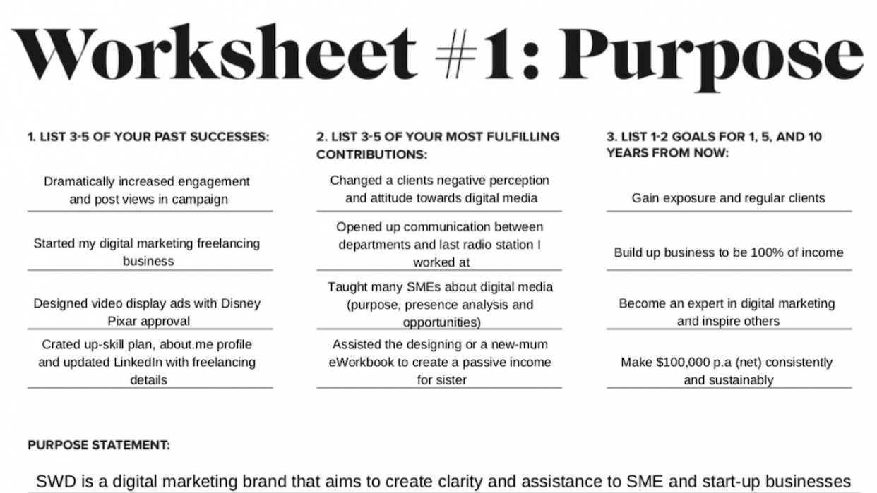 Personal Brand Worksheets - student project