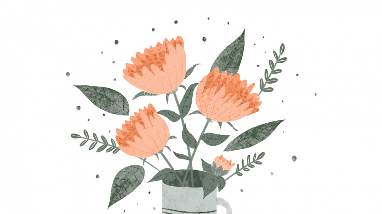 Coral peonies - student project