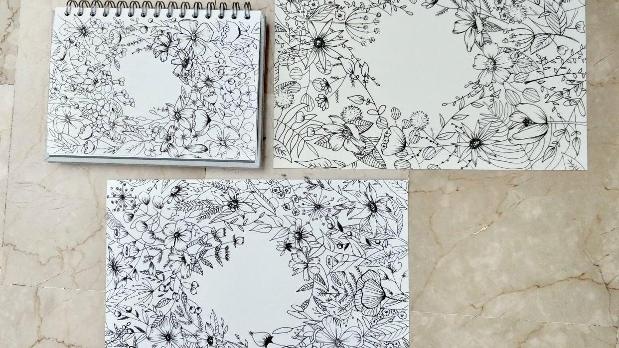 Floral Illustration: Composition Meets Negative Space - student project