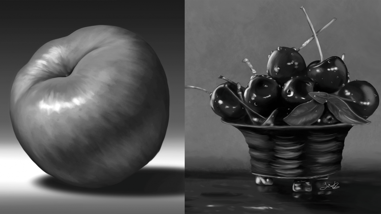 Still Life: Apple & Cherries - student project