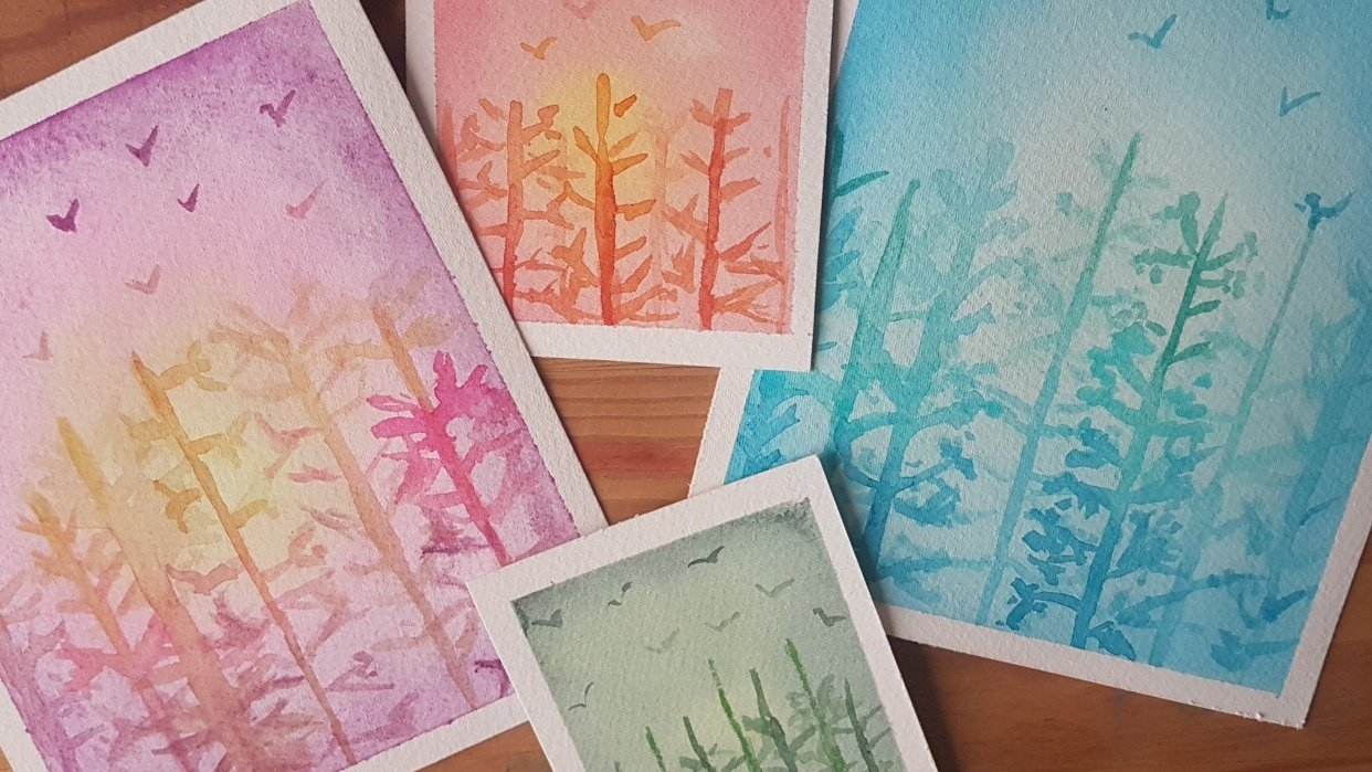 Mini Cards with Trees - student project
