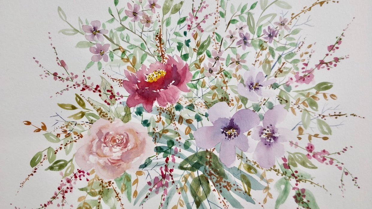 Watercolor Loose Florals: Paint and Explore - student project