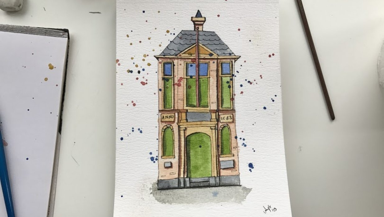 Urban Sketching-3 steps - student project