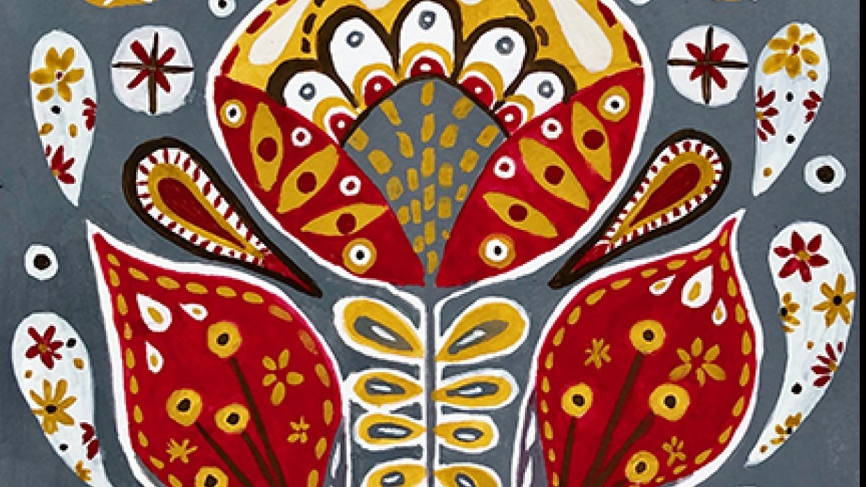 gouache botanical folk art - student project