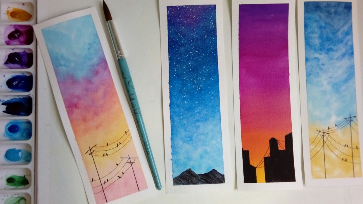 Watercolor skies - student project