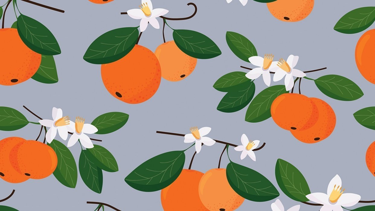 seamless patterns with mandarins - student project