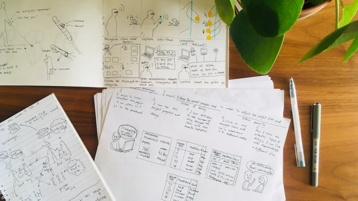 Storyboard for a project management tool - student project
