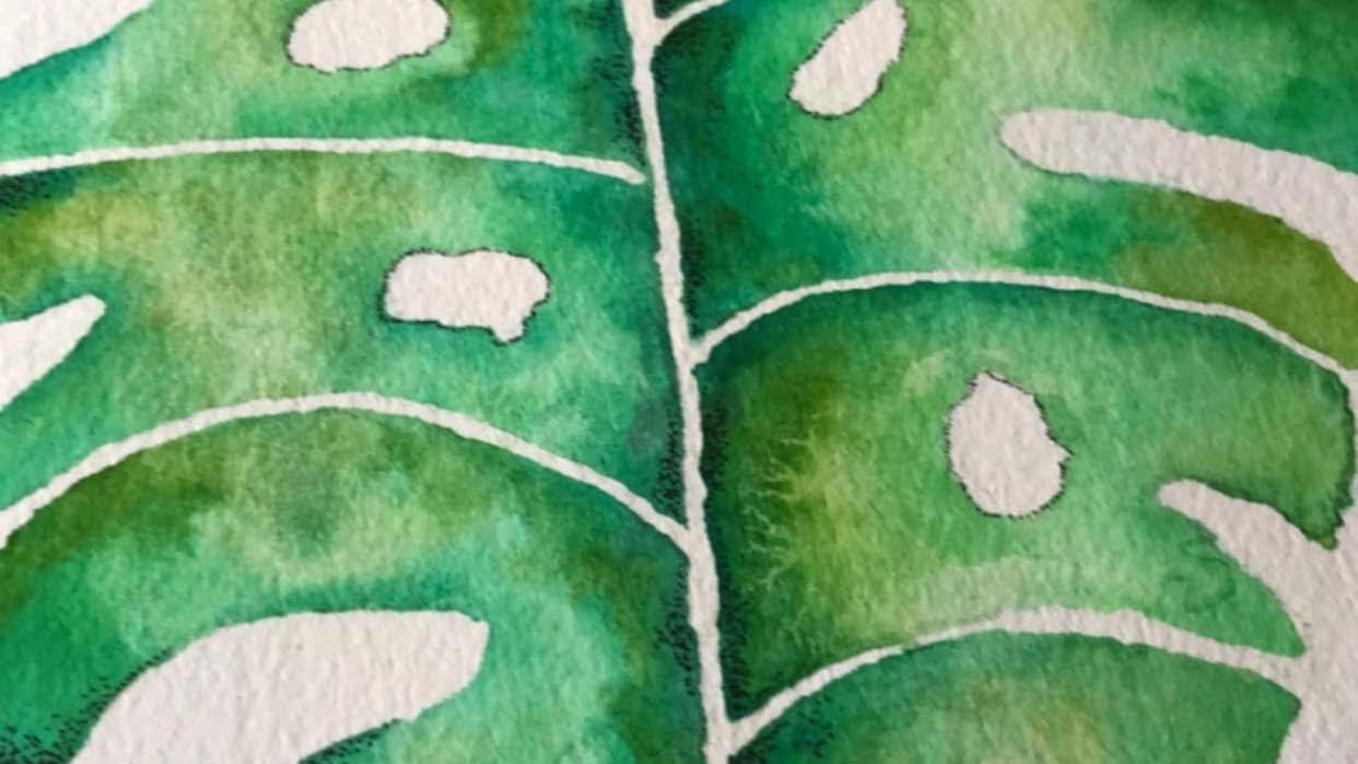 Watercolor Monstera Leaf - student project