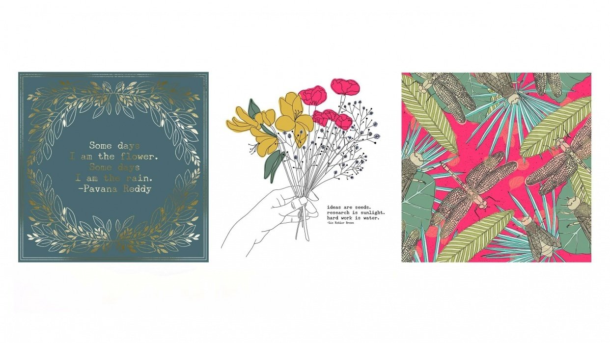 3 Botanical Illustrations made in Procreate - student project