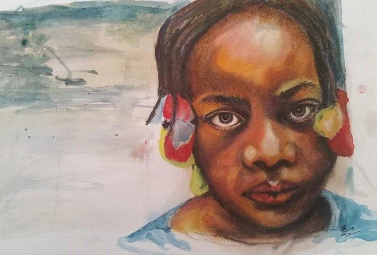 First attempt simple w/c 'portrait' - student project