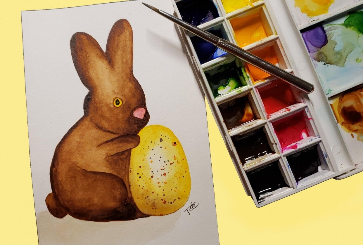 Chocolate Bunny w/ speckled egg - student project