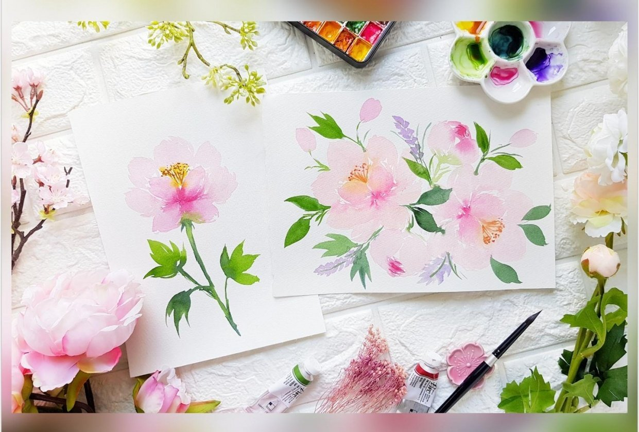 Loose Watercolor Peonies - student project