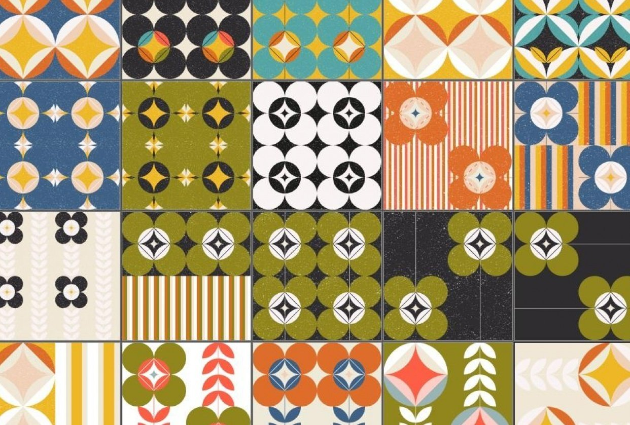 Retro inspired patterns - student project