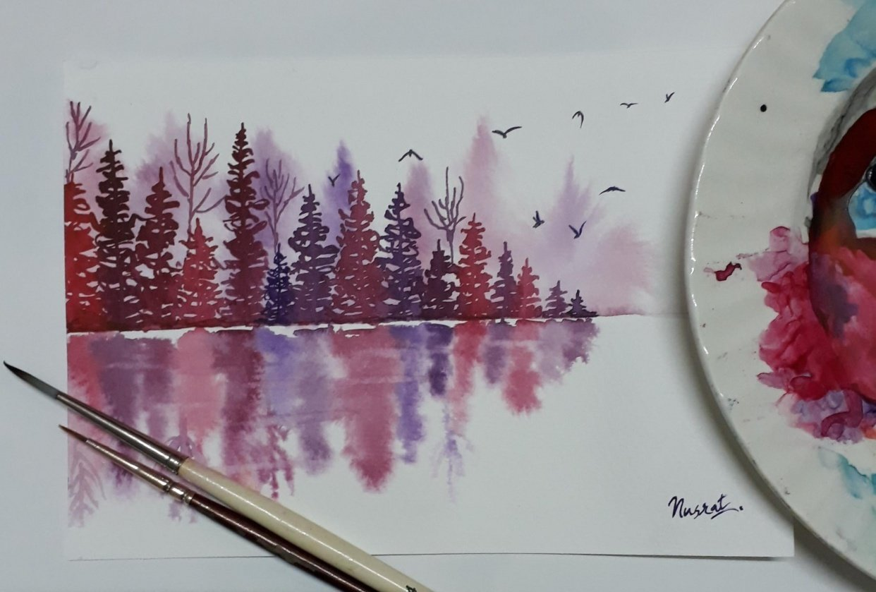 Misty pines with Trupti - student project