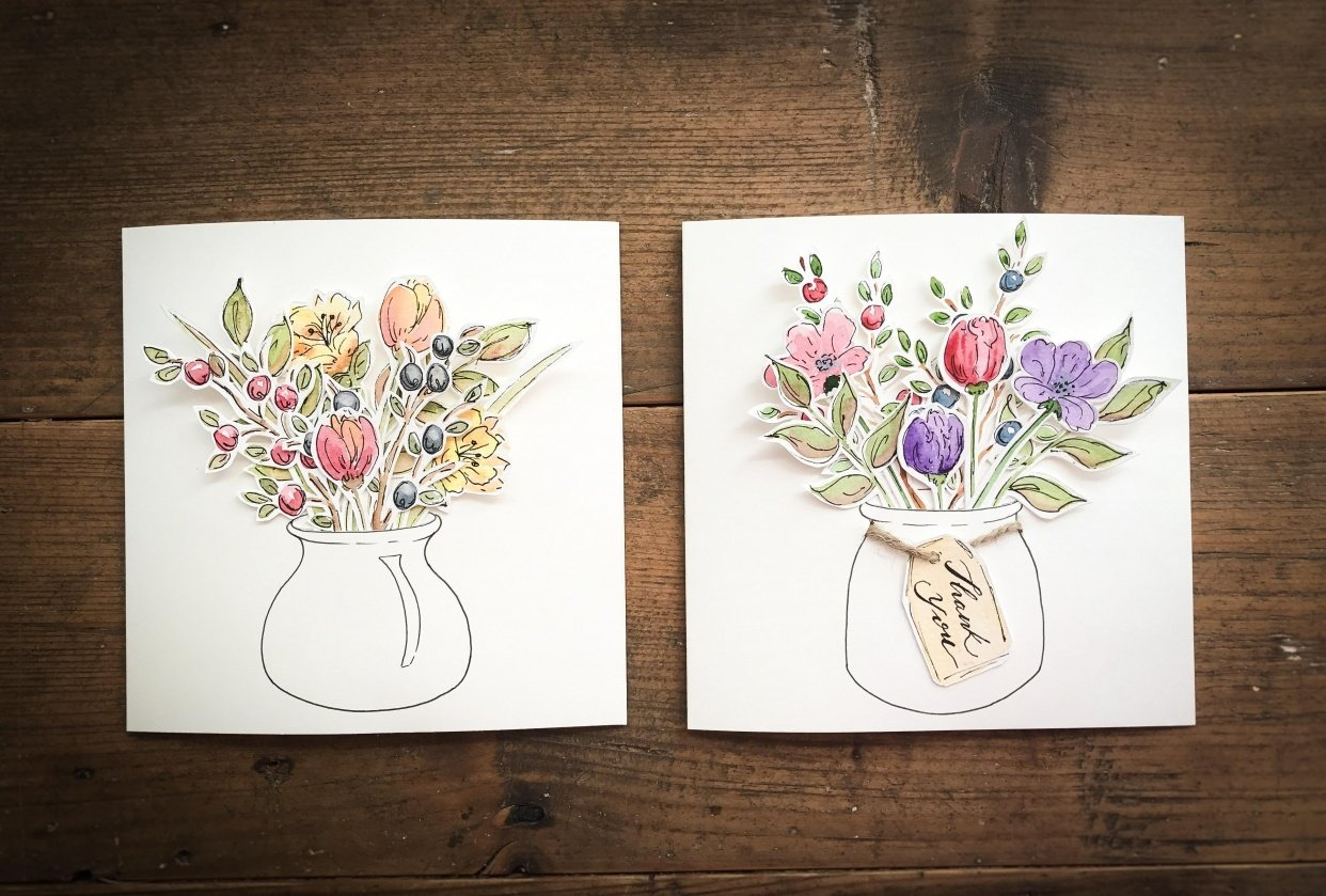 Watercolour Cut Outs - student project