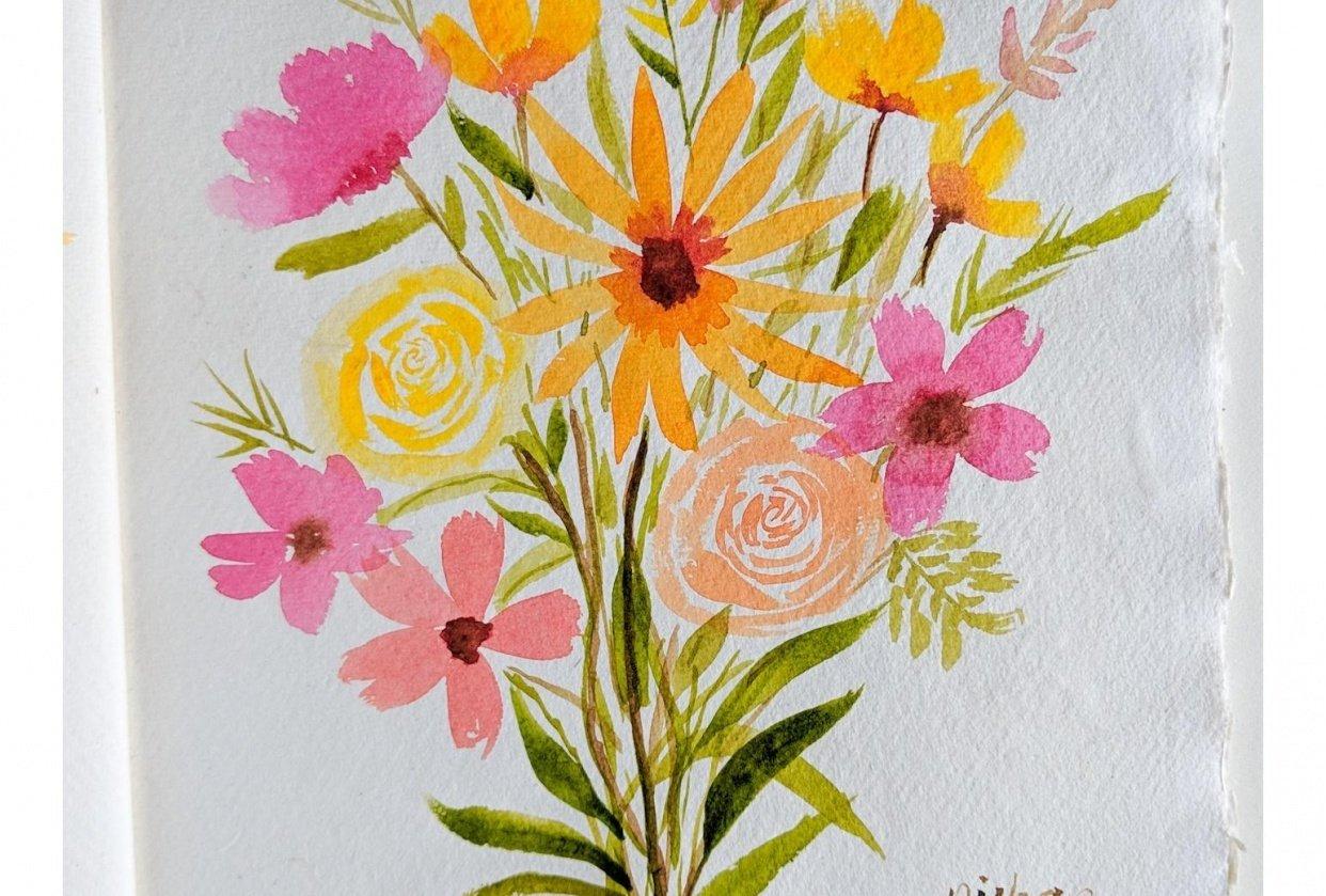 Loose watercolour floral bouquet - student project