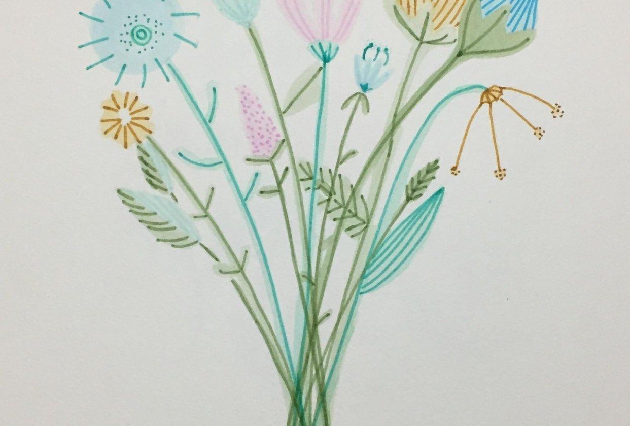 Expressive Brush Pen Florals - student project