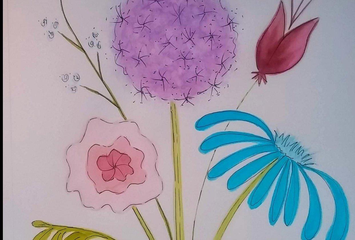 floral bouquet and flat arrangement - student project