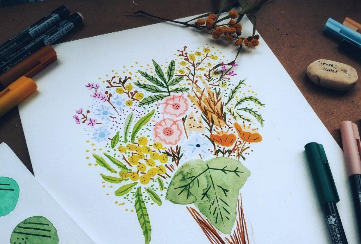 Brush Pen Florals Bouquet - student project