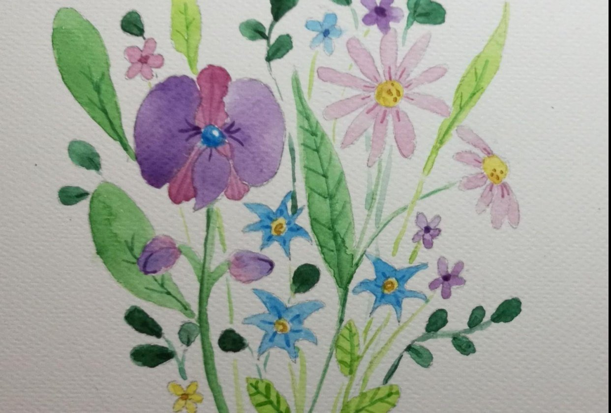 Watercolour flowers - student project