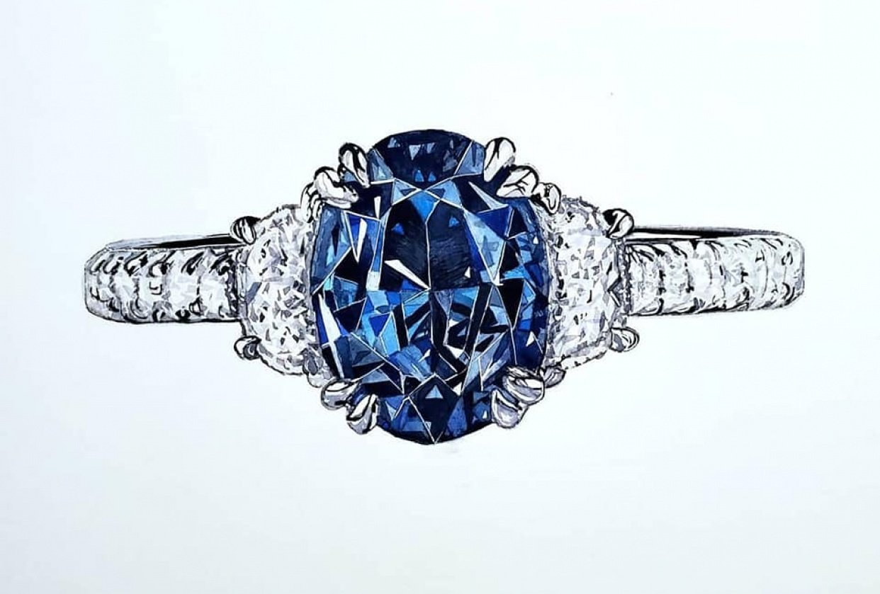 Alexandrite and Diamond Ring - student project