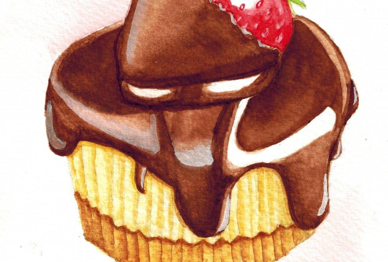 Chocolate strawberry minicake - student project