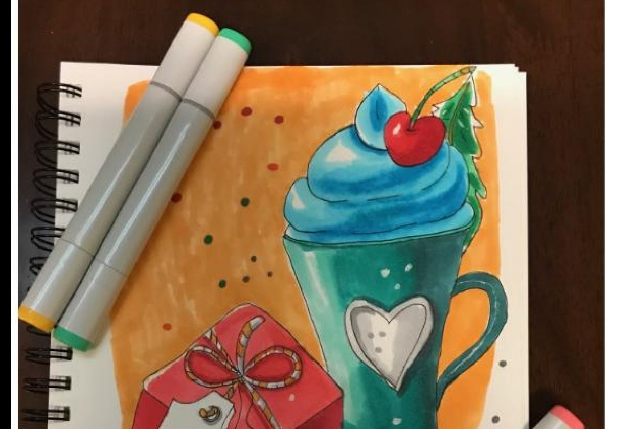 Sketching and coloring with markers - student project