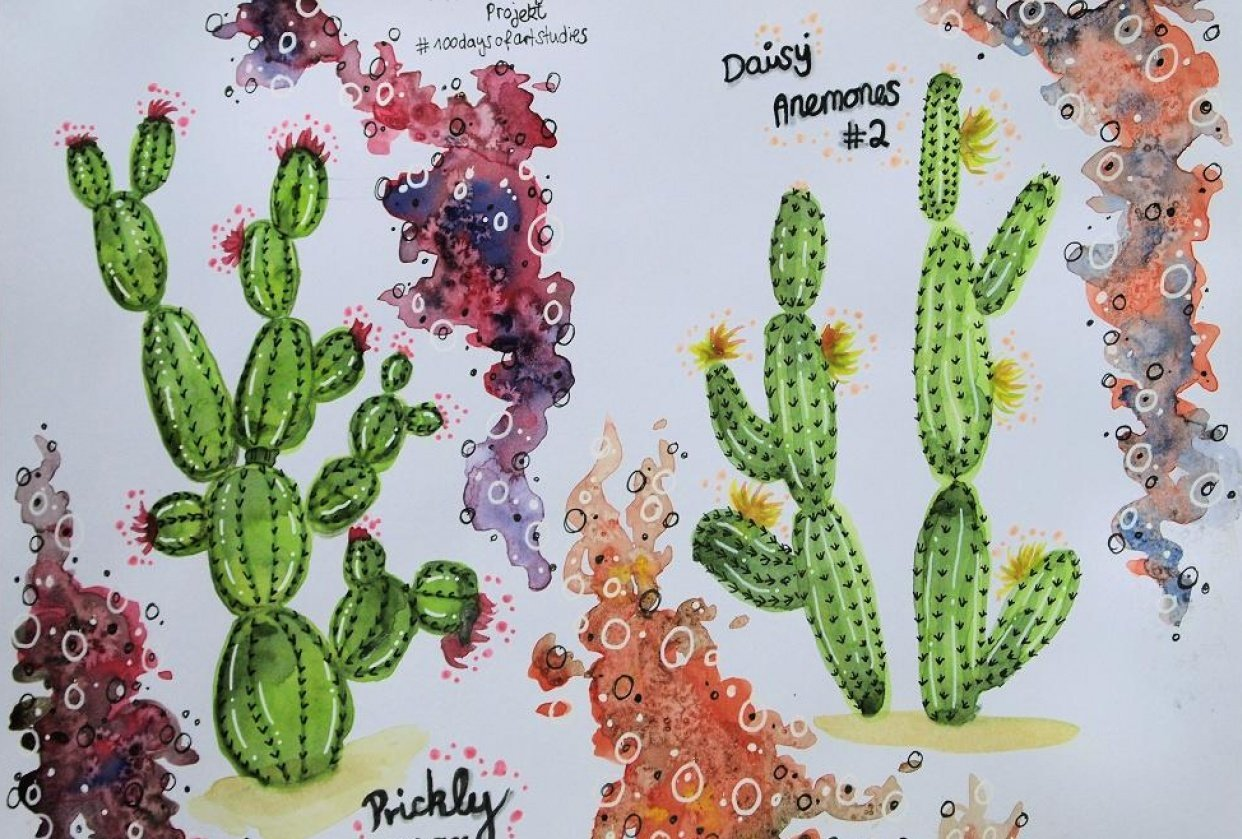 Practising watercolor one cactus at a time... - student project