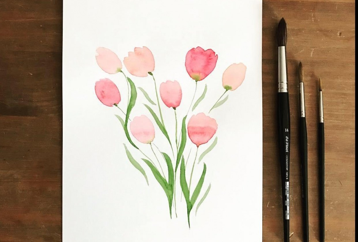 Watercolor tulips and hyacinth - student project