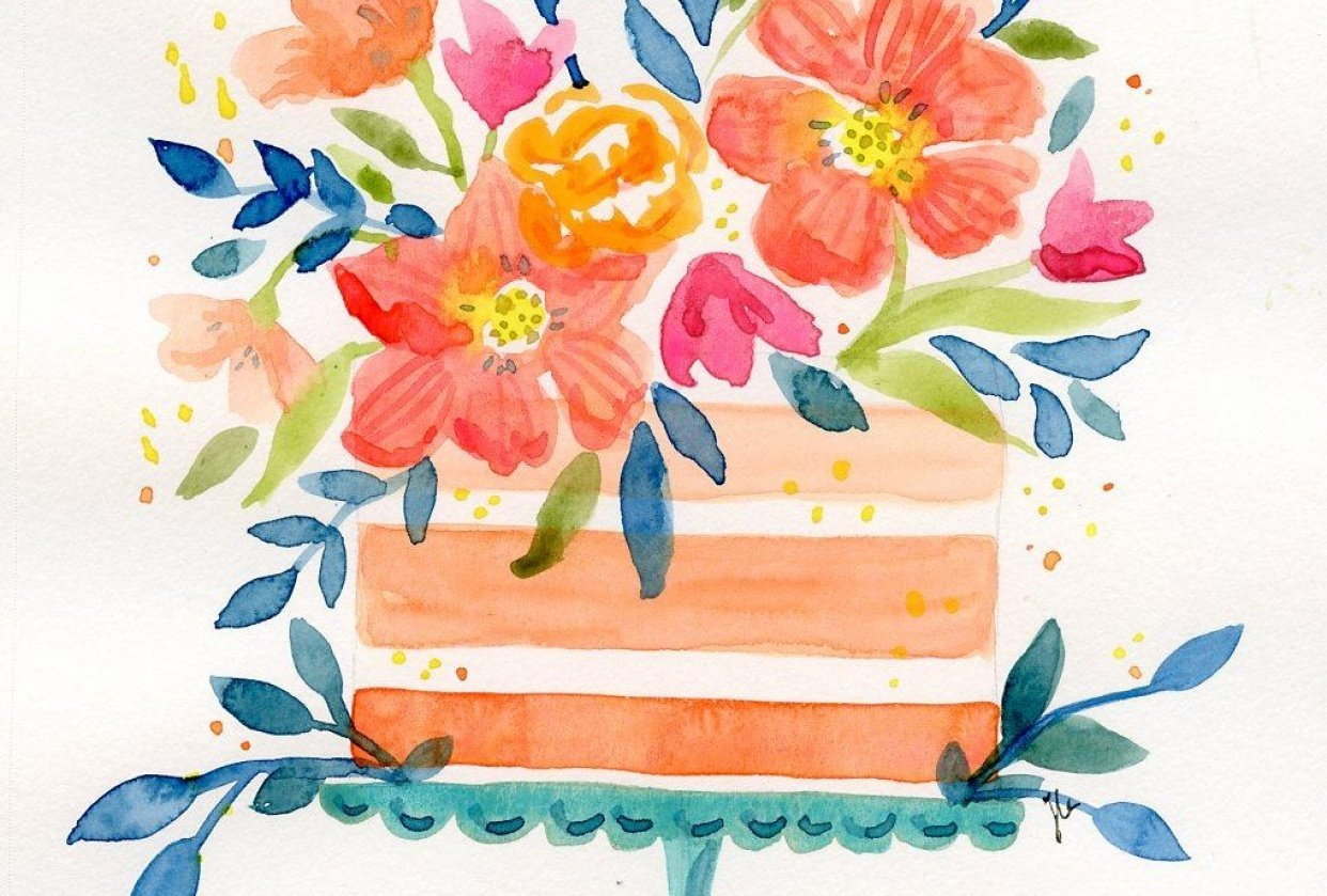 Peachy Pink and Beachy Birthday Cakes - student project
