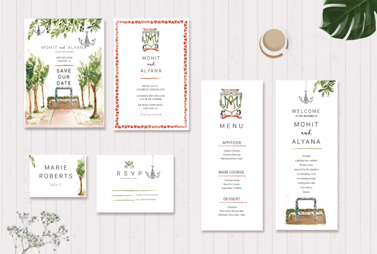 Watercolour Wedding Suite! :) - student project