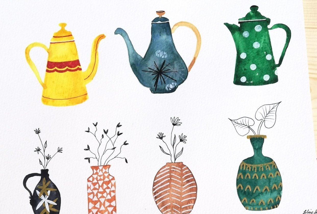 some fun coffeepots and vases - student project