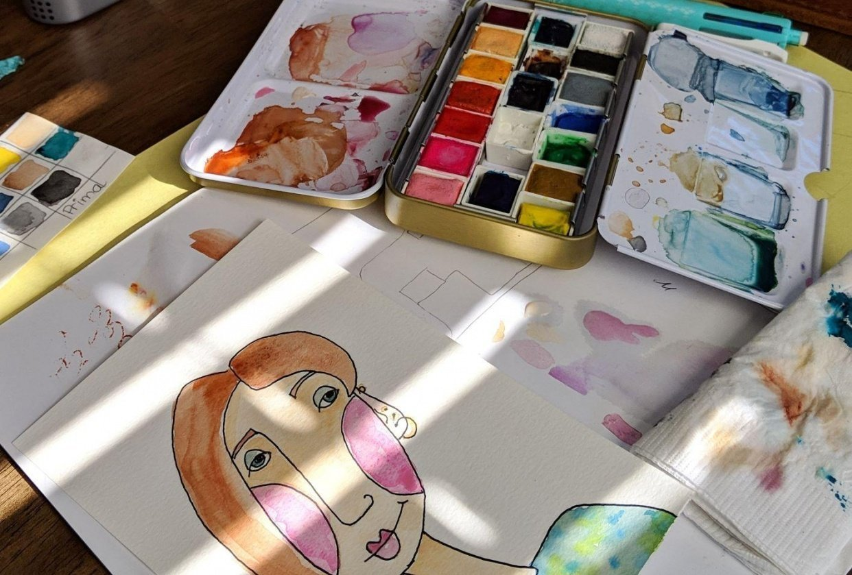 Watercolour silly face - student project