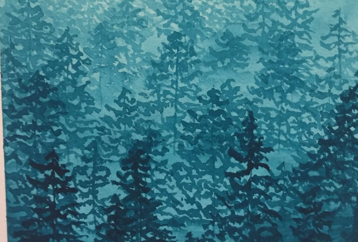 Misty Forest in Phthalo Turquoise - student project