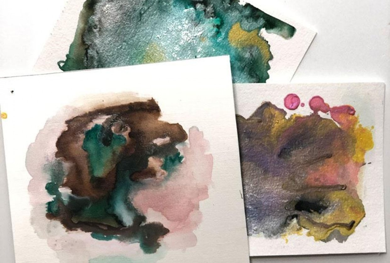 Abstract Art with watercolor and more - student project