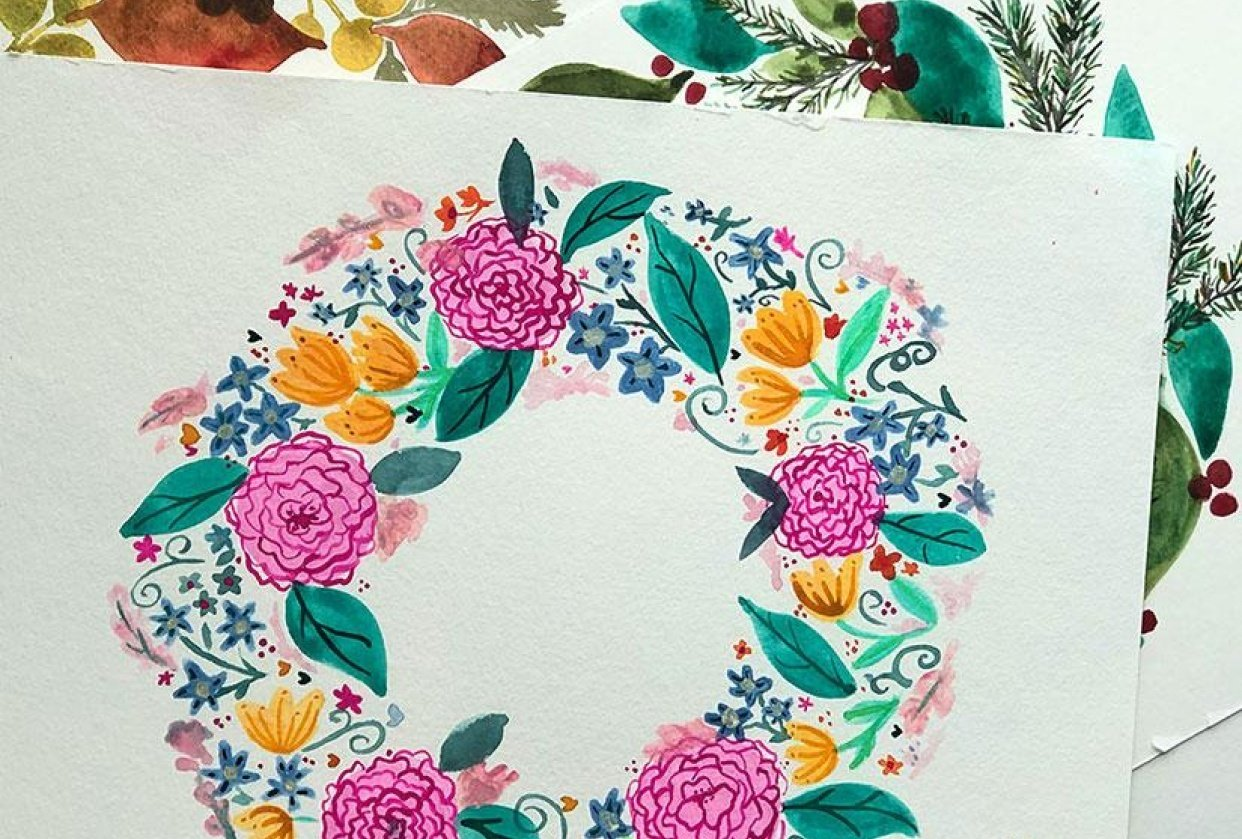 Watercolor Wreaths 3 ways - student project