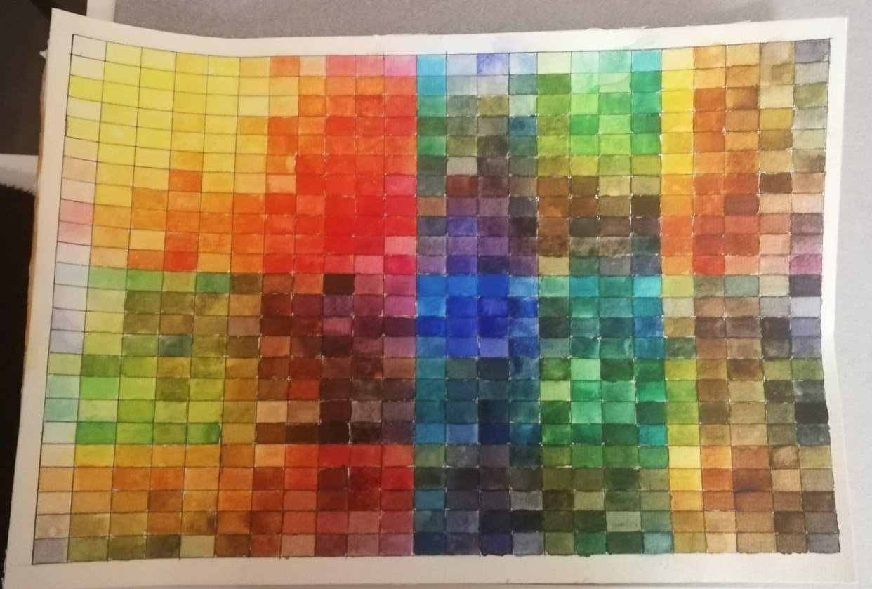 Watercolour mixing chart - student project