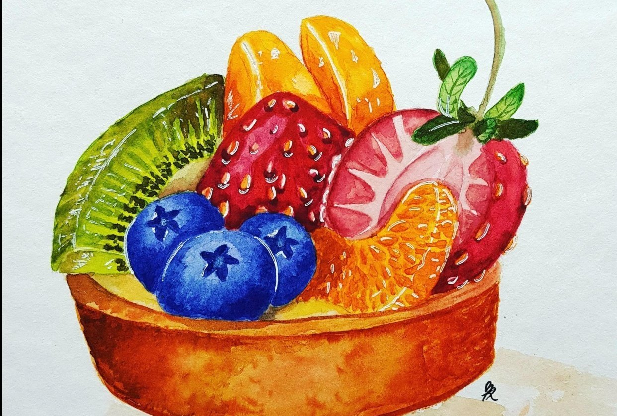 Realistic Fruit tart - student project