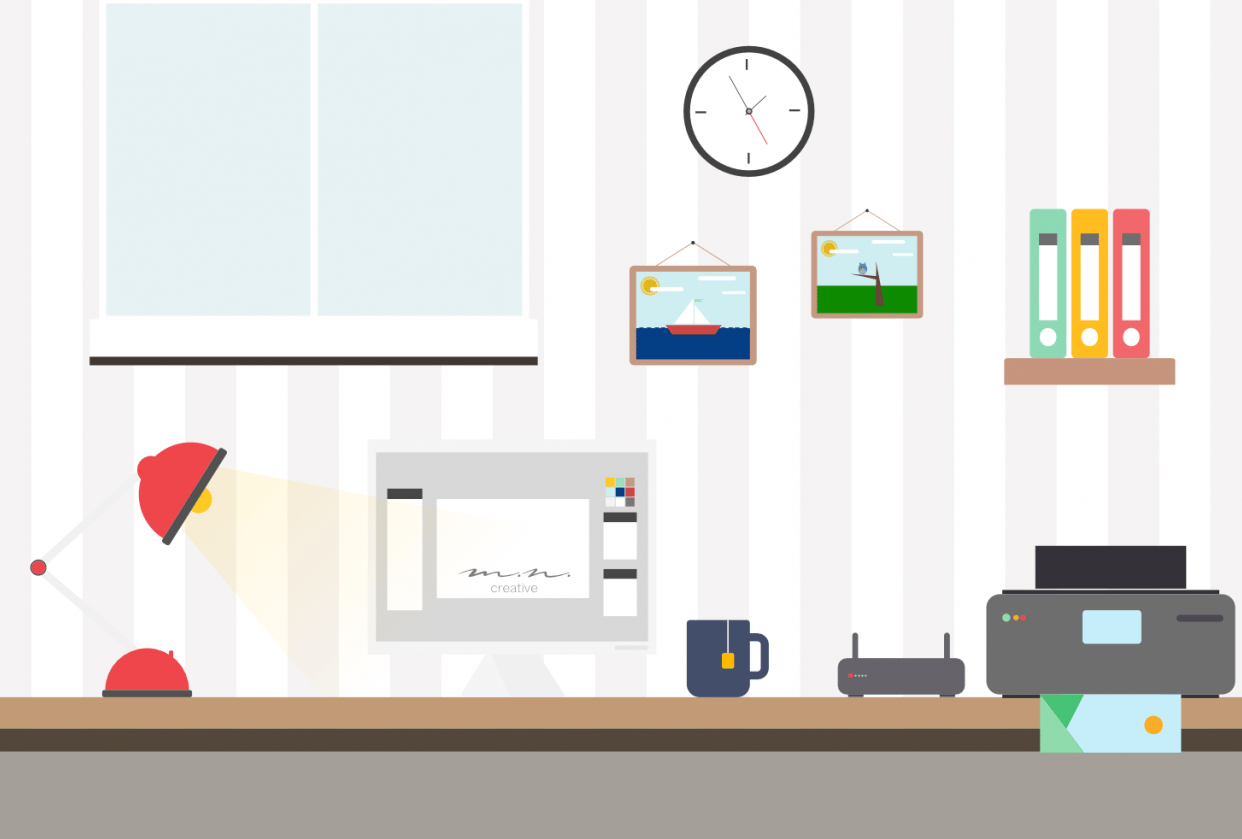 Flat Design Home Office - student project