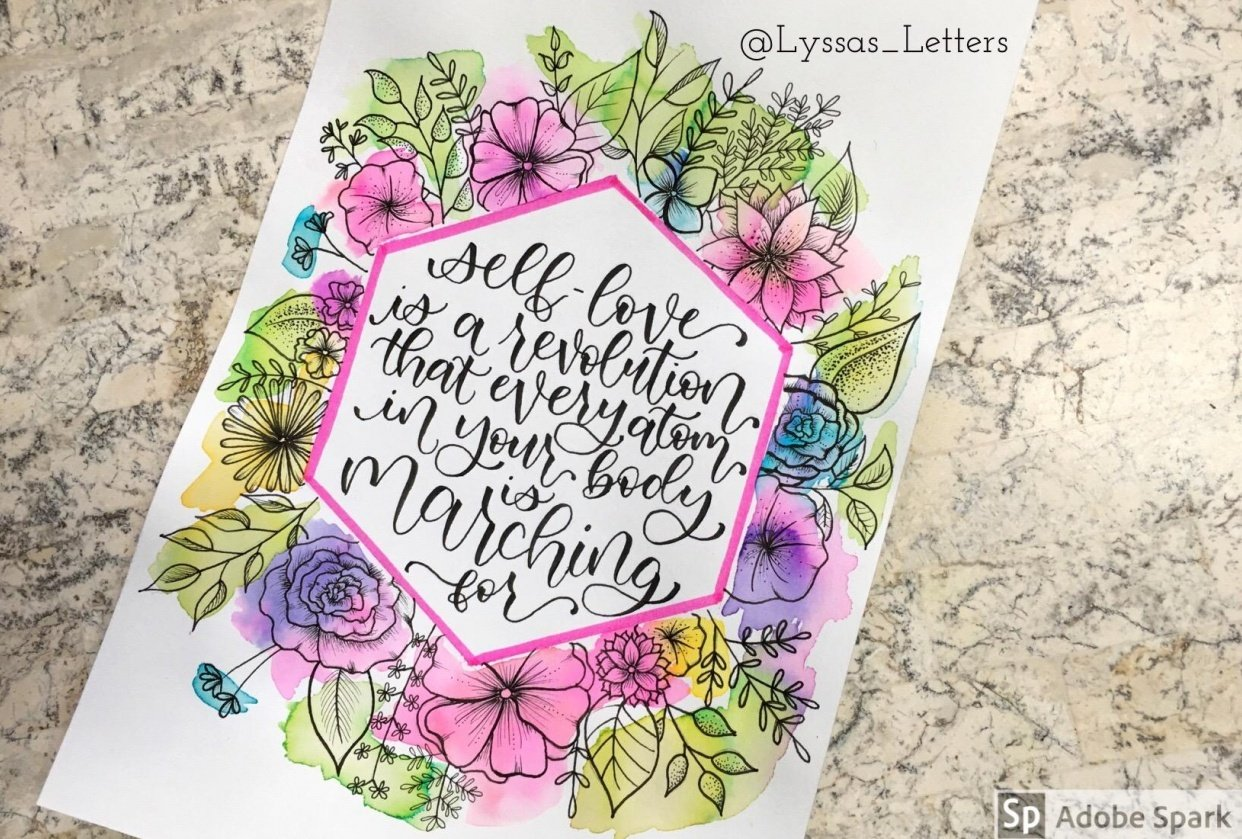 Watercolor and line art florals by @lyssas_letters - student project