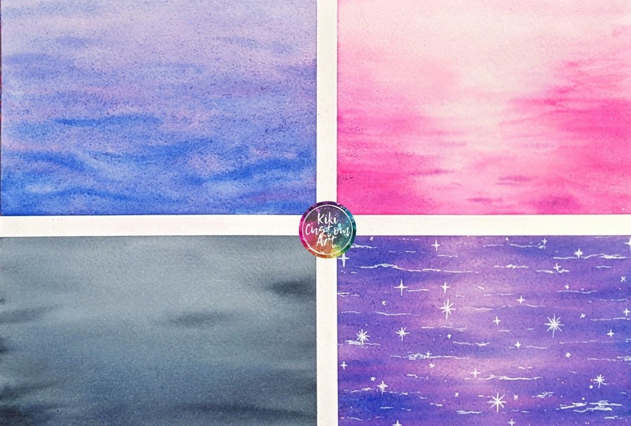 Watercolor waterscapes 4 ways - student project