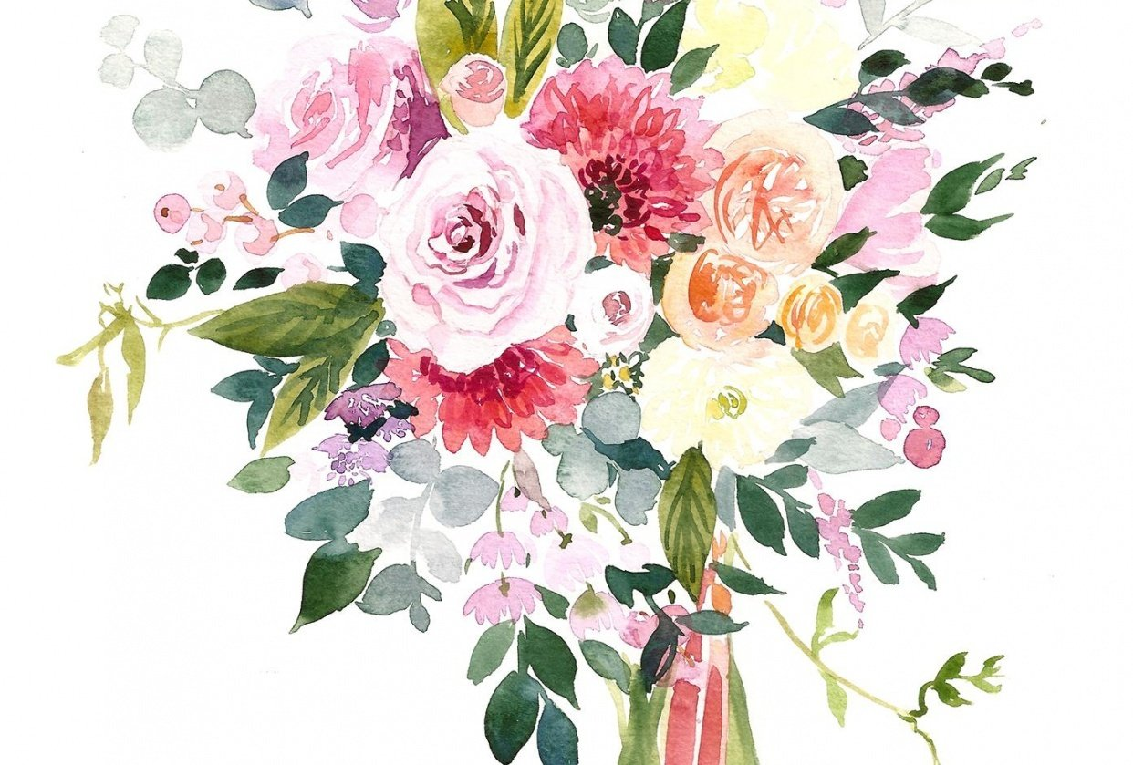 Watercolor Wedding Bouquet {Sample Project} - student project