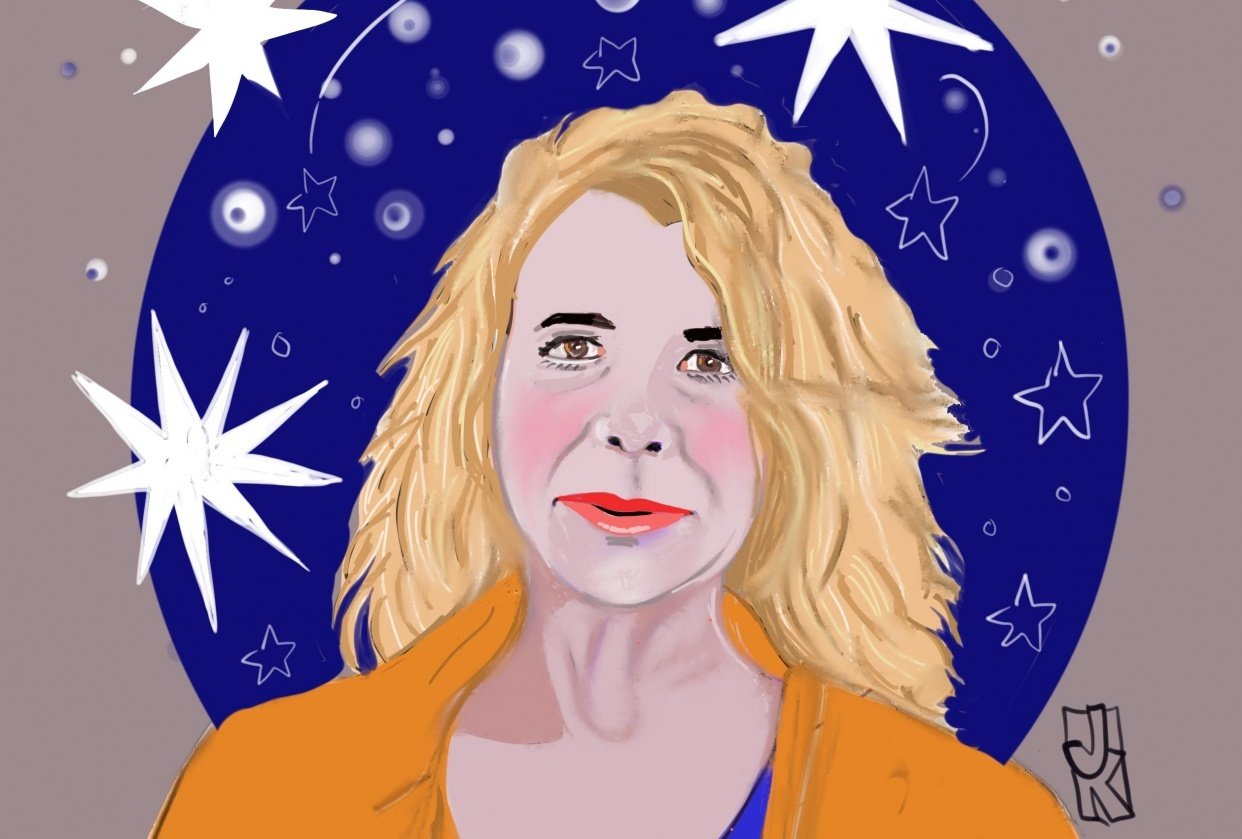 Friday prompt...wavy hair, red lips and space! - student project