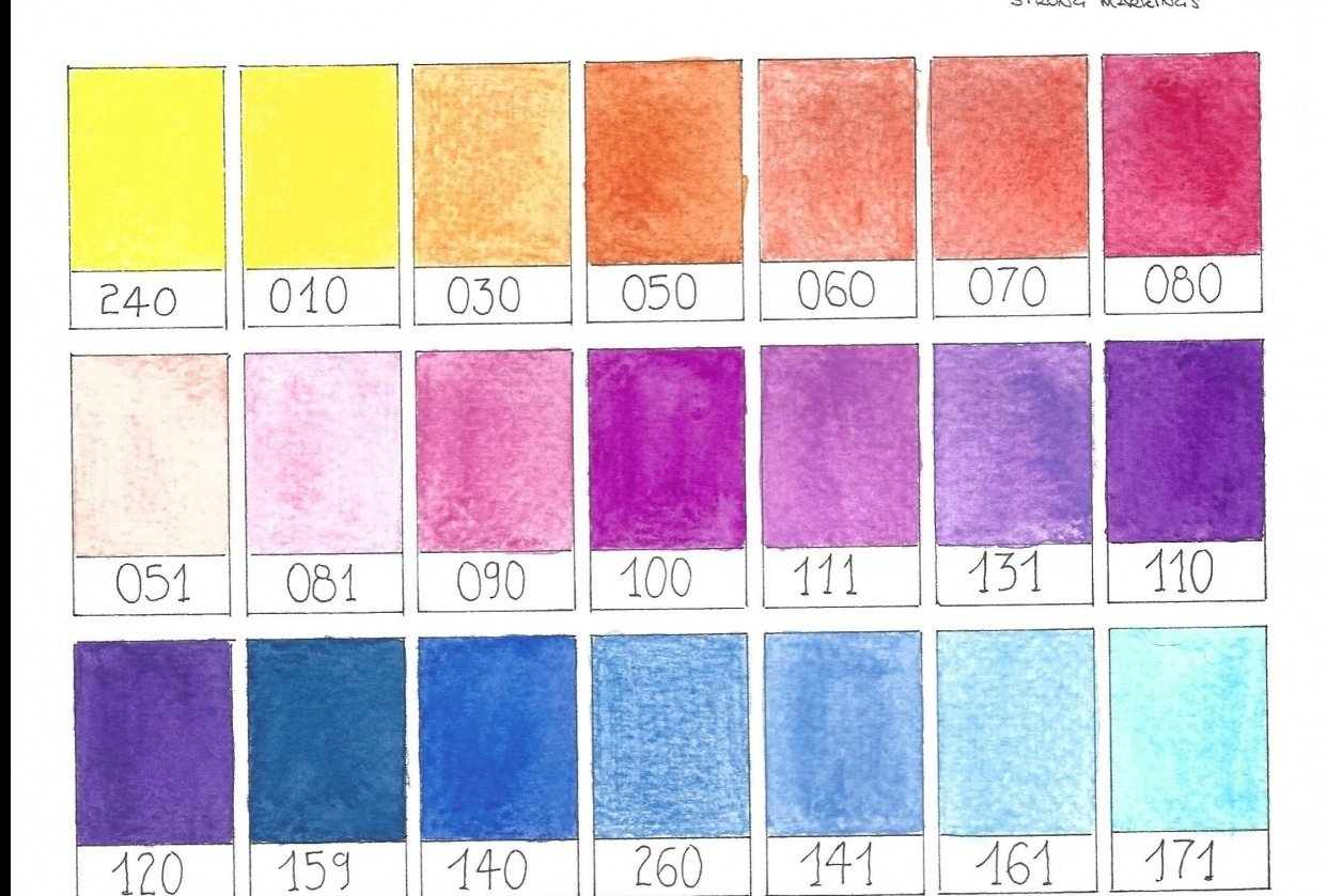 1. Swatches with watercolor pencils - student project