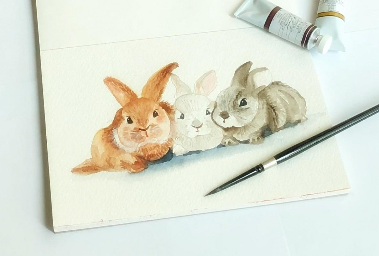 Painting fur in watercolor - student project